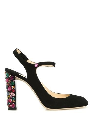 Jimmy Choo %100 Süet Kalın Topuklu Ayakkabı Siyah